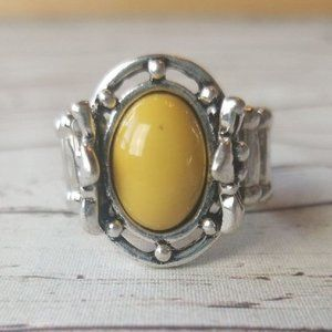 Silver and yellow stretch ring by Paparazzi